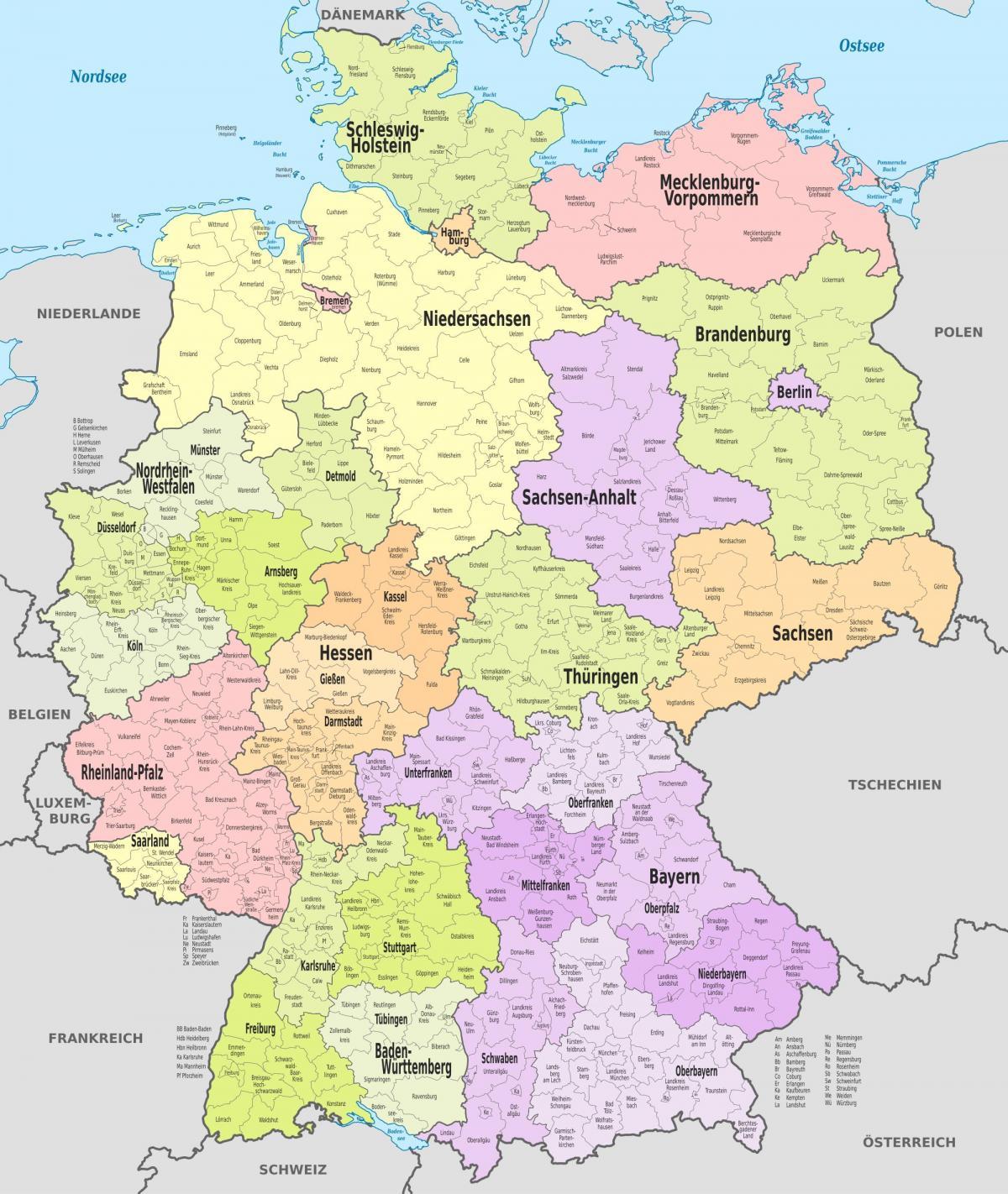 kerületek térkép Németország kerületek térkép   Térkép Németország kerületben  kerületek térkép